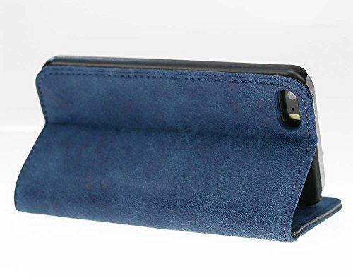 Nnopbeclik iPhone 5 / 5s / se rinds leder weiches TPU, Schlagfestes und Anti-Kratzer-Mappen-Kasten, Selbst-Standplatz für Videoüberwachung, Kartenhalter, magnetische Schlag-Abdeckung (Gray) Blue