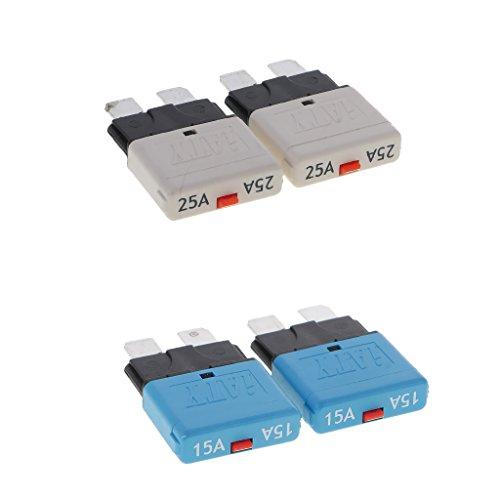 Mini Circuit Breaker (Dolity 28V 15A und 25A Automatik Mini Circuit Breaker Blade Sicherungen Aftermarket-teil, Oberflächenmontage Leistungsschalter - Blau)