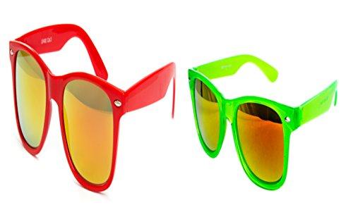 2 er Set Nerd Sonnenbrille Partybrille Miami Techno Festival Brille Rot Feuer Verspiegelt Grün Transparent Feuer