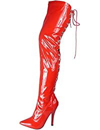 3f6ea719867 Womens Ladies Thigh High Stiletto Heel Fetish Going Out Lace Up Boots Shoes  Size 3-