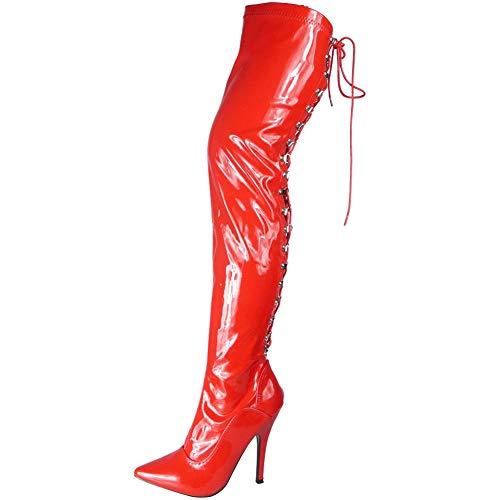 Damen Oberschenkel hoch Stilett Hacke Fetisch Gehen aus Schnüren Stiefel Shoes Größe 45