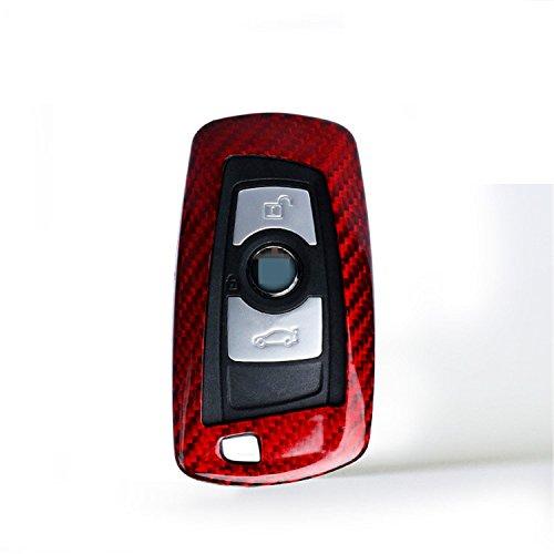 M.JVisun Kohlefaser Fall Für BMW Schlüsselanhänger, Echte Kohlefaser Abdeckung Für BMW X3 X4 M5 M6 GT3 GT5 BMW 1 2 3 4 5 6 7 Serie Smart Fob Remote Key - Rot (Bmw Remote Start)