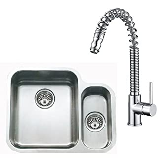 Grand Taps 1.5 Bowls UnderMount Stainless Steel Kitchen Sink And Pull Out Spout Pro Tap Deal (pack KST068)