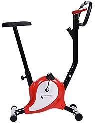 Tomasa Fitness Sport Fahrrad 39x95cm Haus Büro Fitnessbike faltbare Heimtrainer Hometrainer Trainingsgerät Sportgerät mit LED-Display bis110kg (Rot&Schwarz)