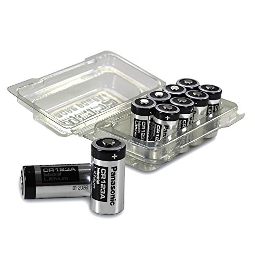 10x Panasonic CR123A Industrial Lithium Batterien CR 123 A Batterien 3V, inkl. Batterieschutzbox von Weiss - More Power + (u.a. geeignet als Batterien arlo Batterien) Cr123a Dl123a 3v Lithium-batterien