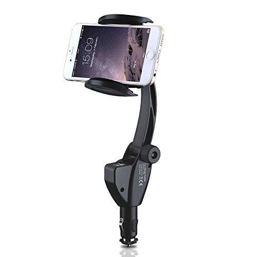 VicTop montaggio per auto, Universal Car Cradle Charging Dock Adapter stazione con Dual USB caricabatterie da auto, accendisigari e 180 gradi Goose Neck & 360 Holder gradi con antigraffio imbottitura per Apple iPhone 6 Plus 6s 5s 5c 5 4s 4, Samsung Galaxy S6 bordo S6 S5 S4, Nexus 5X, HTC M9 dispositivi GPS [Nel corso di carica e sopra protezione corrente]