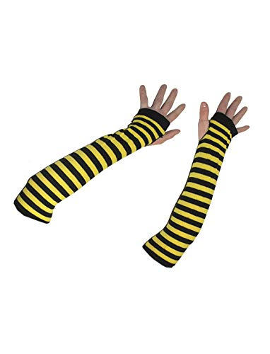 Luxuspiraten - Kostüm Accessoires Zubehör Lange Fingerlose Ringel Handschuhe im Hummel Bienen Style, Bee Ellbow Gloves, perfekt für Karneval, Fasching und Fastnacht, Gelb