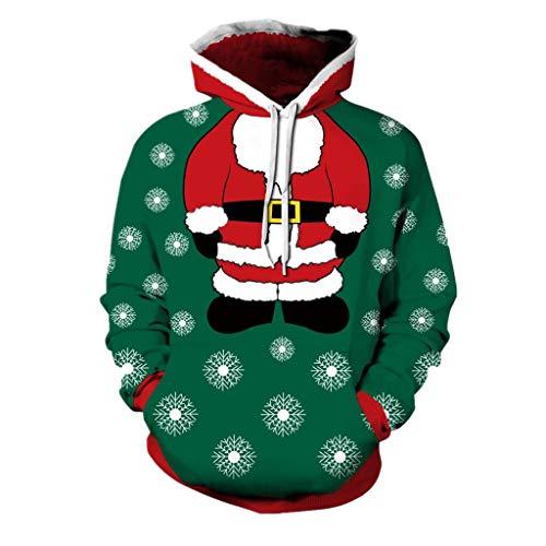 Soupliebe Männer Frauen 3D Weihnachten Print Langarm Paare Hoodies Bluse Sweatshirts Kapuzen Sweatjacke Kapuzenpullover Pullover Sweatshirt