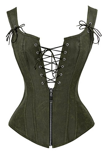 Charmian Women\'s Vintage Renaissance Lace Up Bustier corsé with Garters Olive Large