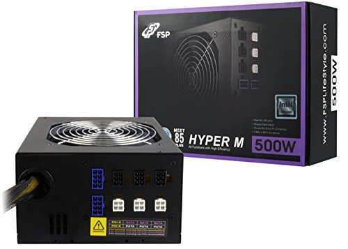 FSP Fortron Hyper M 500W, 85 Plus, Semi-Module,super leiser gaming, Single Rail ATX/EPS PSU PC Netzteil