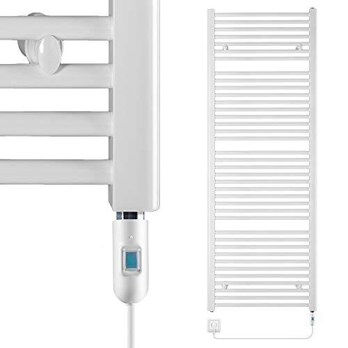 VEVASTO Badheizkörper elektrisch 1.662 x 600mm Handtuchheizkörper 900 Watt Handtuchtrockner weiß inkl. Heizstab mit Ein- und Ausschalter. - Wand-schalter Elektrischer