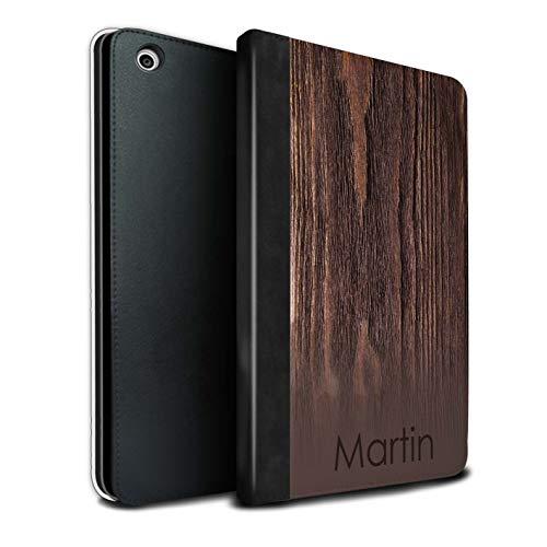 eSwish Personalisiert Individuell Holzmaserung Effekt PU-Leder Hülle für Apple iPad Mini 1/2/3 / Dunkle Antike Kirsche Design/Initiale/Name/Text Tablet Schutzhülle/Tasche/Etui