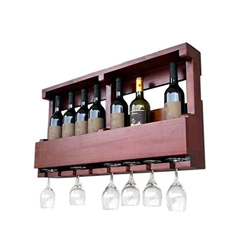 CZZ Wandregal Aus Holz Für Die Weinregalwandmontage, Retro-Weinregal Für 8 Weinflaschen Und 8...