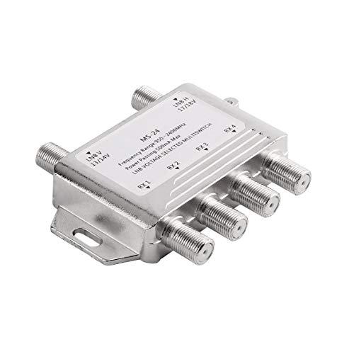 Heaviesk Mini Portable 2x4 JS-MS24 Satellitensignal Multischalter LNB-Spannung 950-2400MHz Multischalter LNB-Empfänger Multischalter