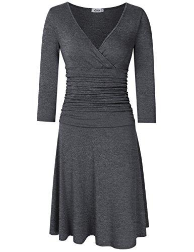 Frauen-reizvoller V-Ansatz 3/4 Hülse, die elegante Taillen-Übergangs-Geschäft beiläufige A-Linie Kleider abnimmt (s, Grau) (Mieder Kleid Geraffte)