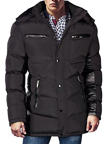 Trisens-Giacca invernale da uomo Parka piumino look cappotto Alaska in vera pelliccia cappuccio Schwarz ohne Fell L