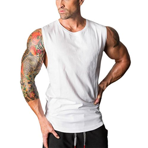UJUNAOR Männer Fitnessstudios Bodybuilding Fitness Muskel Ärmellos Singlet-T-Shirt Top Weste Tank(XL,Weiß) -