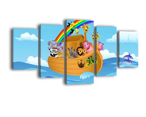 Leinwandbild Arche Noah LW205 Wandbild, Bild auf Leinwand, 5 Teile, 210 x 100 cm, Kunstdruck Canvas, XXL Bilder, Keilrahmenbild, fertig aufgespannt, Bild, Holzrahmen, Tiere, Comic, Kinder