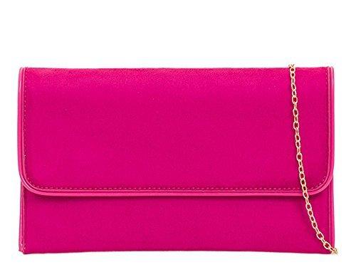 Haute für Diva S Neu Damen Kunstleder Party Formell Clutch Handtasche - Rot, Medium Fuchsia