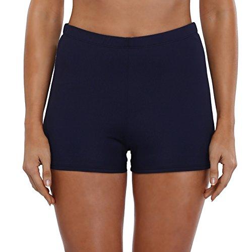 Attraco Damen Schwimmen Badehose Badeshorts Schwimmshorts Hotpants Wassersport UV-Schutz, Navy Blau, 42 (Nylon-boyshort)