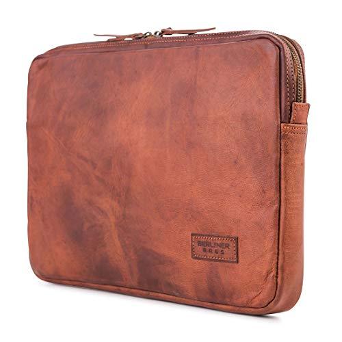 """Berliner Bags Laptop-Tasche MacBook Hülle für 15 Zoll aus Leder Wasserdichte Notebooktasche Schutzhülle mit Reißverschluss DIN A4 Braun Vintage Retro 15"""""""