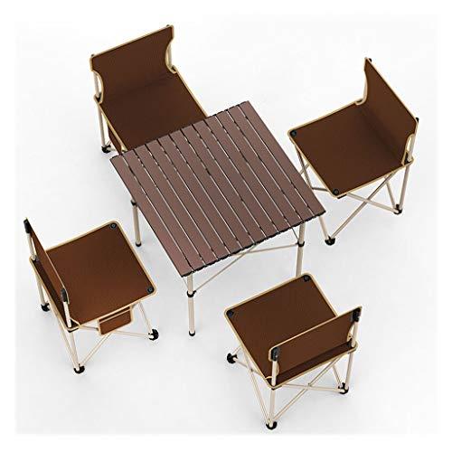 MWG Outdoor-Falttisch Aluminiumtisch Kleiner Garten oder Camping-Tisch-Einzeltisch Plus 4 Stühle