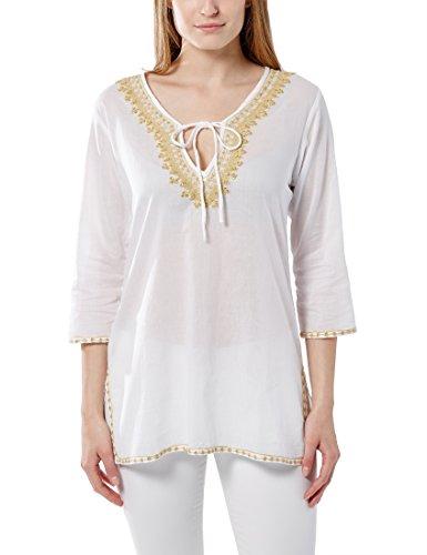 Berydale Damen Tunika mit Stickerei, Perlen & Steinen, Gr. Medium (Herstellergröße: M) Weiß (Weiß/Gold) (Tunika Baumwolle Perlen)
