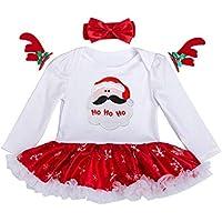 Minzhi Neugeborene Weihnachtsspielanzug Stirnband Set Baby Langarm-Overall-Kleid