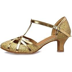 Zapatos de BAILE Latino Oro YKXLM