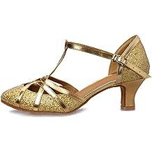 YKXLM Mujeres&Niña Zapatos latinos de baile Zapatillas de baile de salón Salsa Tango Performance Calzado de Danza,Modelo ESCMJ51