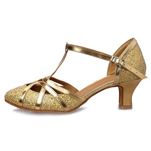 YKXLM Damen & Mädchen Ausgestelltes Tanzschuhe/Standard Ballsaal Latein Dance Schuhe,DE511-5,Gold,EU 39