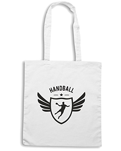 T-Shirtshock - Borsa Shopping SP0076 Handball Winged Maglietta Bianco