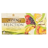Twinings Selection Lemon Vanilla Peach Apple Cinnamon & Raisin Wild Berries Flavoured Black Tea 50g. (2g.x25 Sachets)