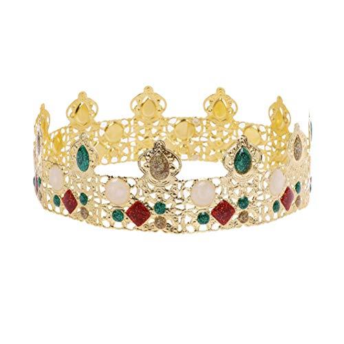 Lurrose Herren Vollrundkrone Edelsteindekor Vollrundkrone Royal Golden King's Crown Geburtstagskrone (Männer's Crown Royal Kostüm)