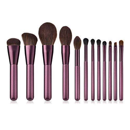 The only good quality Hübsch Gut aussehende professionelle lila 12er Make-up Pinsel Set für Concealer, Foundation, Blending, Blush, Lidschatten, Augenbrauen, Eyeliner und Lippen, etc. Mode