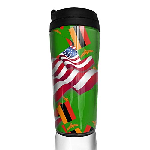 Travel Coffee Mug Zambia Flag with America Flag 12 Oz Spill Proof Flip Lid Water Bottle Environmental Protection Material ABS