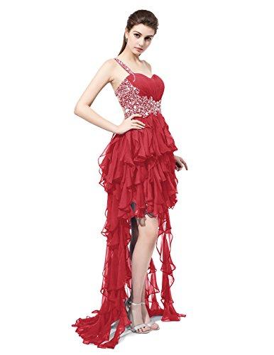 Dresstells Robe de cérémonie asymétrique une épaule emperlée Rouge Foncé