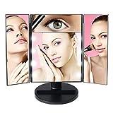 MEYUEWAL Miroir de Maquillage avec lumières LED, Miroir de Voyage Portable tri-Pliable avec écran Tactile et grossissement 1x / 5X, Miroir cosmétique à Support réglable à 180 °