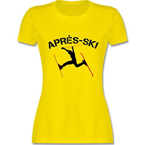 Après Ski - Apres Ski - tailliertes Premium T-Shirt mit Rundhalsausschnitt für Damen Lemon Gelb