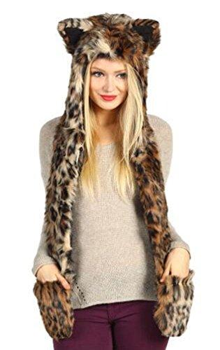 Ghope Unisex Damen Herren Fell-Mütze mit Handschuh-Schal Plüschmütze Tiermütze Plüschtier Kapuzenschal Ohren mit Handschuhe (Ohren Kostüm Totoro)