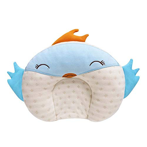BIGLOVE Baby Orthopaedic Pillow Neck Pillow, Soft and Cute Animal Neck Pillow,Flat Head Baby Pillow Prevention of Plagiocephaly,25x28cm,B