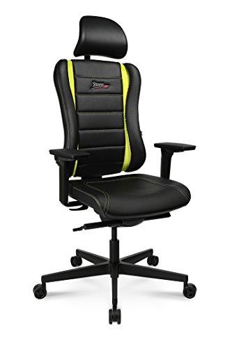 Topstar Sitness RS Pro, ergonomischer Bürostuhl, Schreibtischstuhl, Gamingstuhl, inkl. Multifunktionsarmlehnen XD und Kopfstütze, Stoff, Schwarz/Grün