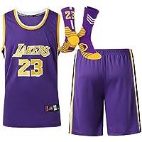 HDJX Hombres y Uniformes de Cuello Redondo de Baloncesto Femenino, Lebron James, Los Angeles Lakers, 23, Transpirable Bordado Baloncesto Swingman Jersey, con los Calcetines Purple-XL