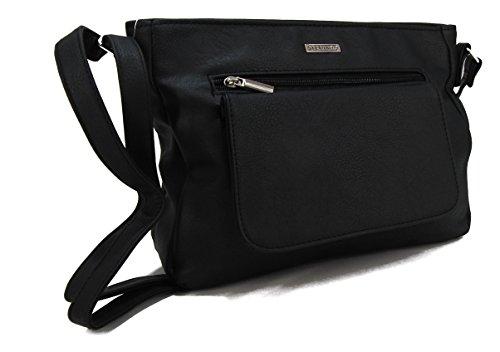 e859a40a6a7c1 STEFANO moderne Damen Umhängetasche Schultertasche Frauen Handtasche soft  PU verschiedene Modelle M3 Schwarz
