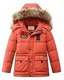 Mallimoda Jungen Daunenjacken Winterjacke mit Kapuze Kinder Lange Mantel Warm Wintermantel Rot 8-9 Jahre/Körpergröße 130-140