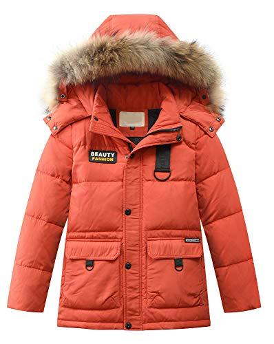 Mallimoda Jungen Daunenjacken Winterjacke mit Kapuze Kinder Lange Mantel Warm Wintermantel Rot 6-7 Jahre/Körpergröße 120-130