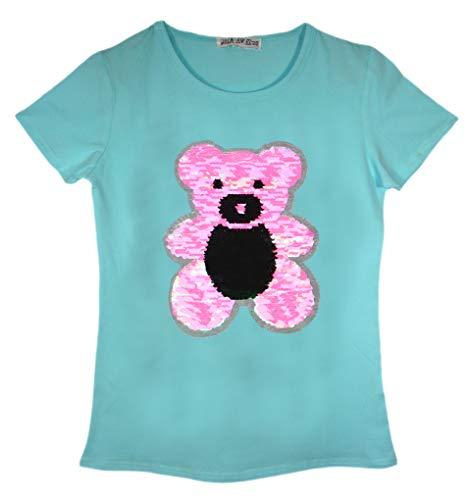Kinder T-Shirt Sequin Katze Teddybär Pinguin T-Stück Top Bürste Änderung 3-14 Jahre -