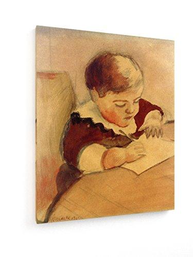 r, am Tisch malend - 40x50 cm - Textil-Leinwandbild auf Keilrahmen - Wand-Bild - Kunst, Gemälde, Foto, Bild auf Leinwand - Alte Meister / Museum (Kunst-tisch Für Kleinkinder)