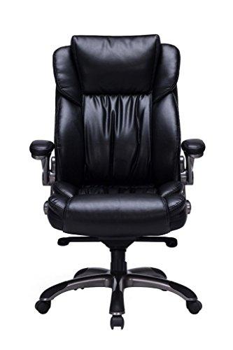 VIVA OFFICE Silla ejecutiva ergonómica de cuero natural regenerado, con respaldo alto y brazos ajustables, Negro