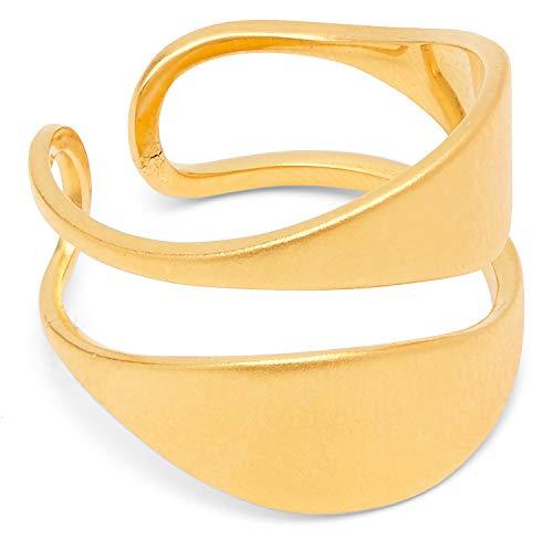 Louise Kragh Damen Ring Gold Leaf: Mit Blatt Anhänger außergewöhnlich und modisch 925 Silber matt glänzend vergoldet - Größe 55 - RLEA0402g